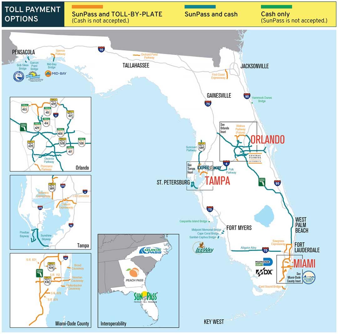 betalvägar i Florida, No cash on Florida toll roads, carreteras de peaje en Florida, Mautstraßen ohne Bargeld